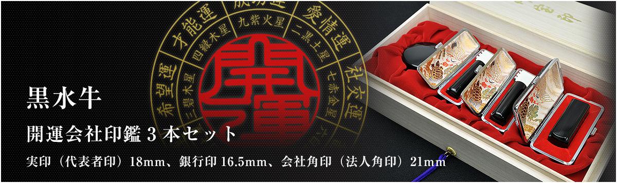 会社印鑑3本セット/実印・銀行印・角印【黒水牛18mm】