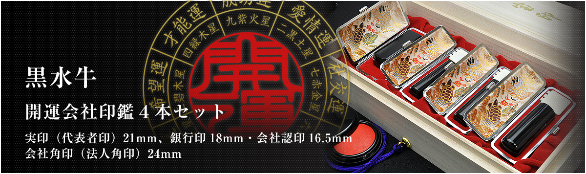 会社印鑑4本セット/実印・銀行印・認印・角印【黒水牛21mm】