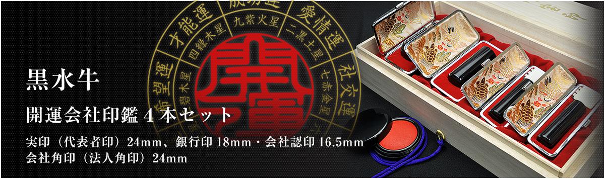 会社印鑑4本セット/実印・銀行印・認印・角印【黒水牛24mm】