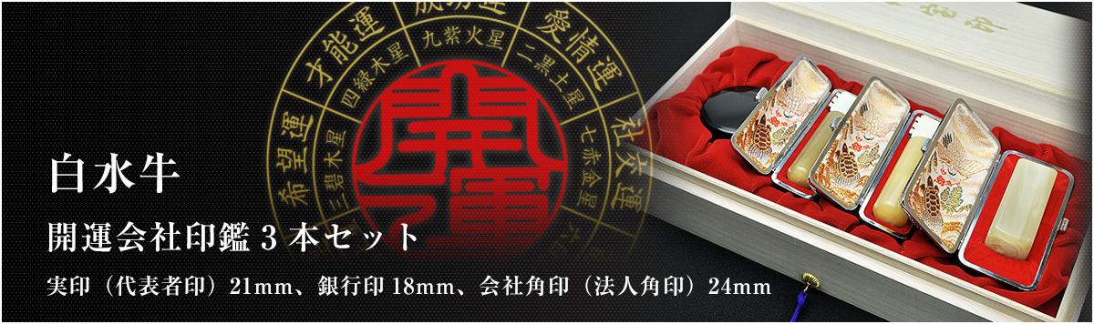 会社印鑑3本セット/実印・銀行印・角印【白水牛21mm】